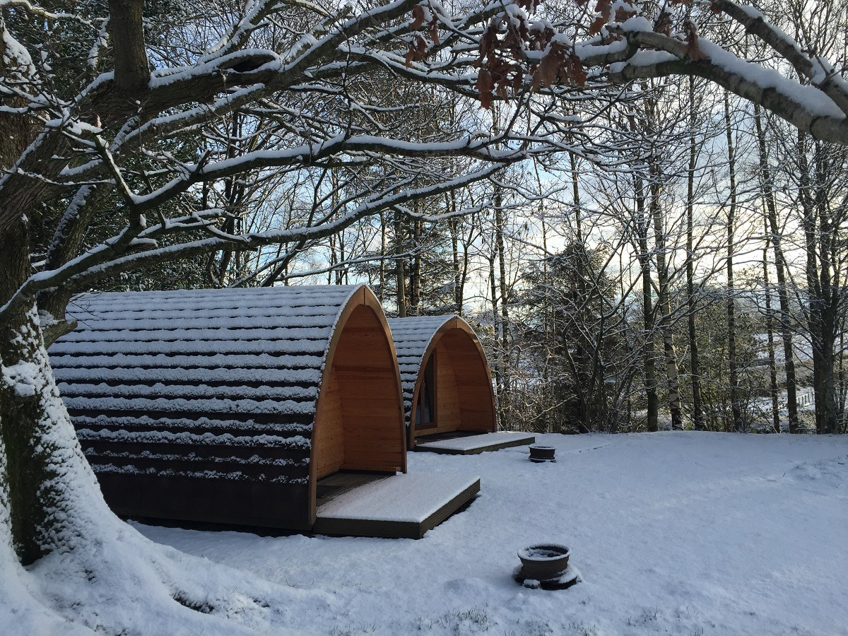 Lanefoot Farm Campsite - camping Pods in the snow!